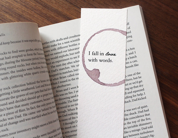 In love with words - Wine stamped bookmark