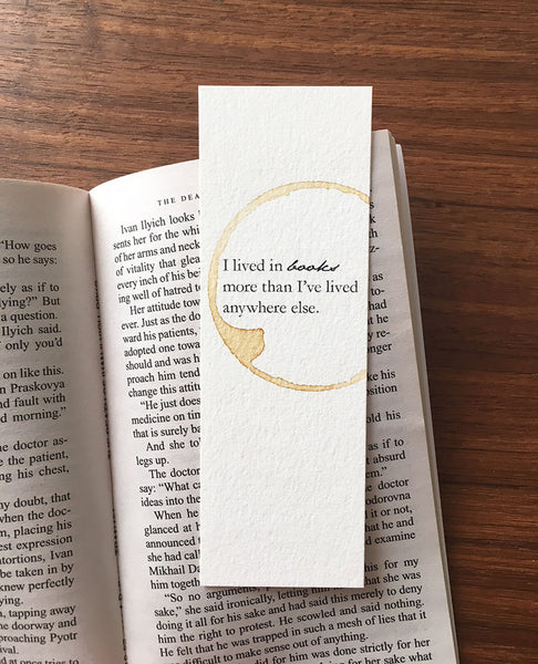 I've lived in books - Coffee stamped bookmark