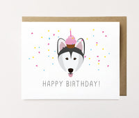 Malamute - Confetti birthday Card