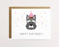 Schnauzer - Confetti birthday Card