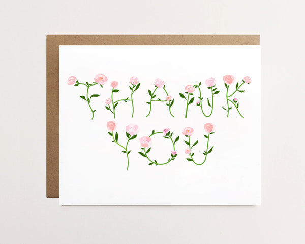 Peony - Floral thank you card