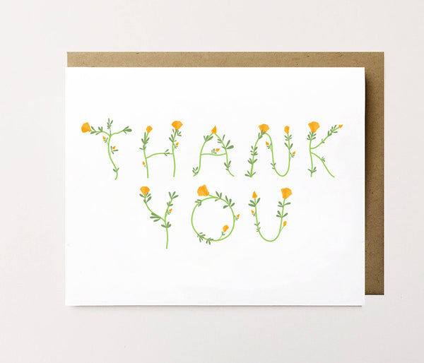 Poppies - Botanical thank you card