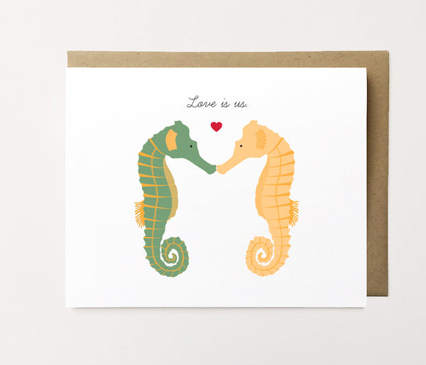 Love is us - Seahorse love card