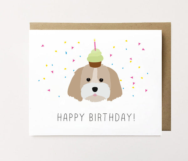 Shih Tzu - Confetti birthday Card