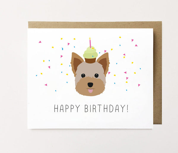 Yorkie - Confetti birthday Card
