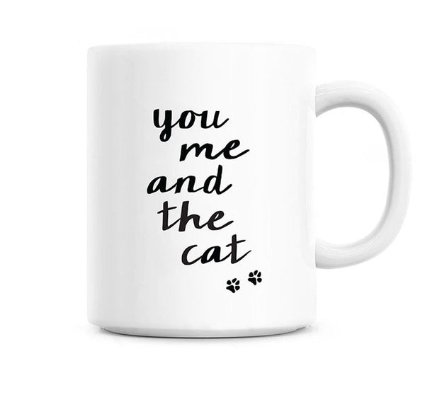 You me and the cat - Black and white mug
