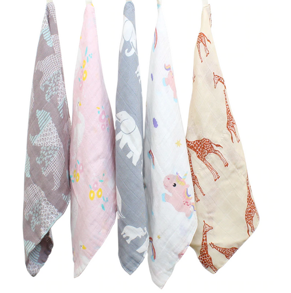 Bamboo muslin and cotton gauze square, in lots of 5 Pcs 27x27cm chosen at random!