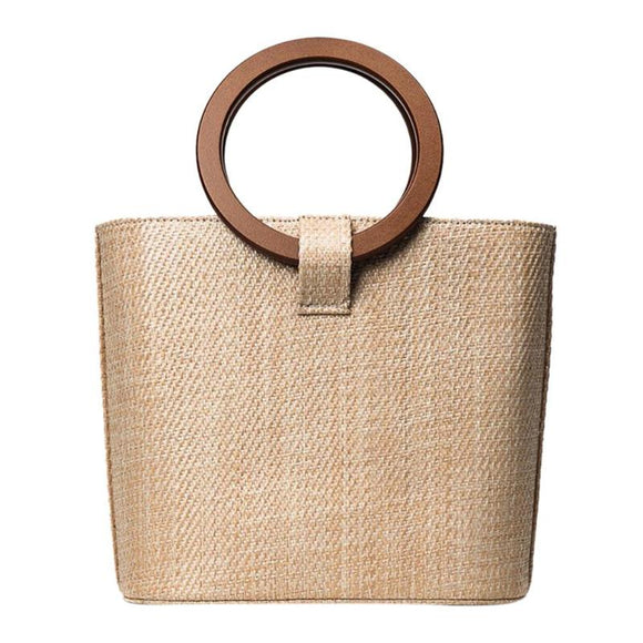 Elegant beach bag, braided bamboo straw.