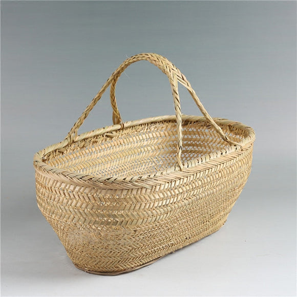 Beautiful hand-woven bamboo basket.