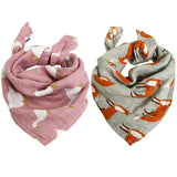 Set of 2 ultra-soft gauzes, 60x60cm, with adorable trendy patterns.