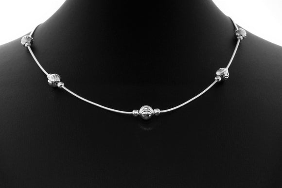 Sterling Silver Snake Chain Necklace with Beads