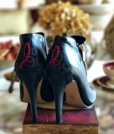A Mile in Her Heels - Pink Studded on Black