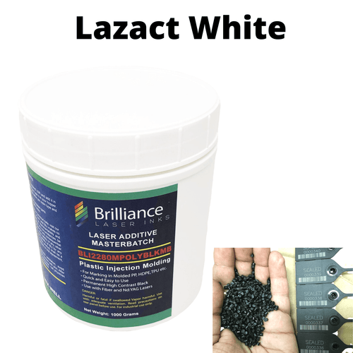 Lazact White - Laser Activated Additive for Black Color Molded Parts- Reveals White Marking - 1 KG - Prints White