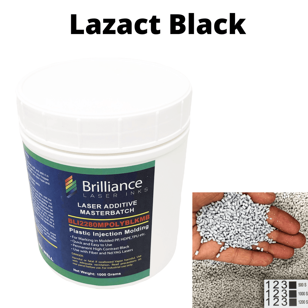 Lazact Black - Laser Activated Additive for Molded Plastic Parts- Reveals Black Permanent Marking with Fiber Laser - 1 KG - Prints Black