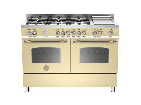 Bertazzoni HER120 6G MFE D CR T Heritage Series 120cm Matt Cream 6-burner + Griddle Electric Double Oven
