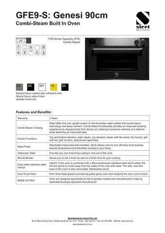 Steel GFE9-S Genesi Range Built-in Combi-Steam Oven