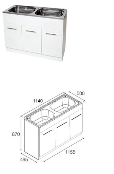 Unique DB-236K Yakka Double 45L Inset Tub & Timber Cabinet