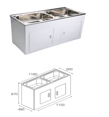 Unique DB-652D Yakka Double 45L Inset Tub & Cabinet
