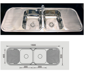 Unique Grande Stainless Steel Double Bowl Sink DH-452S