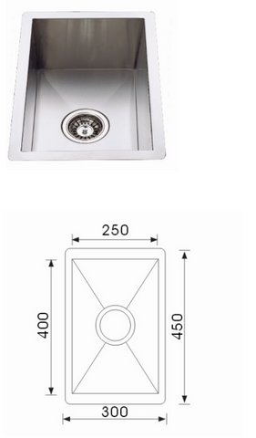 Unique Quadro Stainless Steel Undermount Sink F-4530