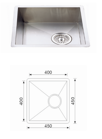 Unique F-4545 Quadro Stainless Steel Undermount Sink