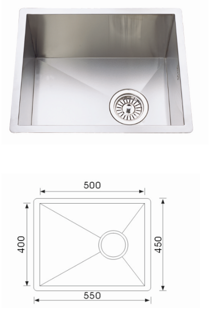 Unique F-5545 Quadro Stainless Steel Undermount Sink