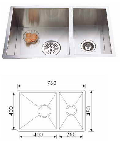 Unique Quadro Stainless Steel Undermount Sink F-7345