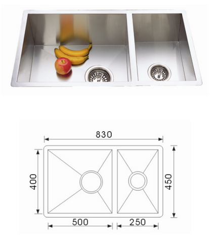 Unique Quadro Stainless Steel Undermount Sink F-8345