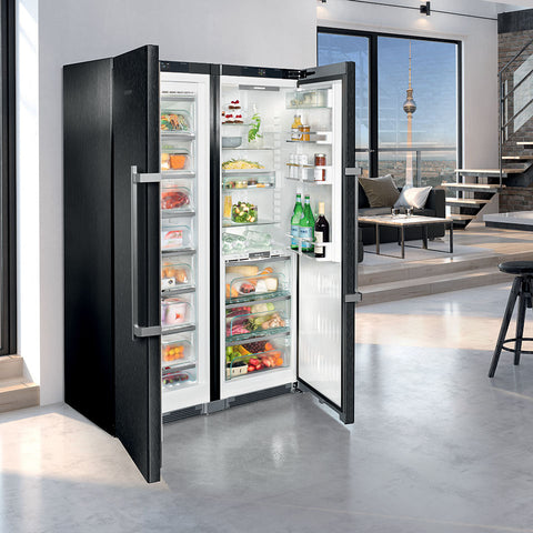 Liebherr SBSbs 8673 BlackSteel Freestanding Side By Side Fridge