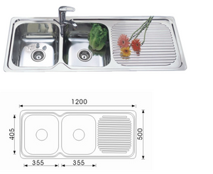Unique Grande Stainless Steel Double Bowl Sink NH-351S