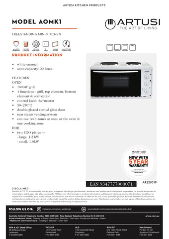 Artusi AOMK1 Freestanding Mini Kitchen