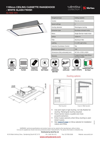 Sirius SLT969 WH Valentina Collection 1100mm White Glass Onboard Ceiling Cassette Rangehood