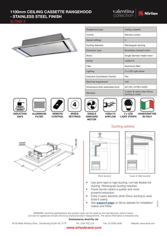Sirius SLT969 X Valentina Collection 1100mm Stainless Steel Onboard Ceiling Cassette