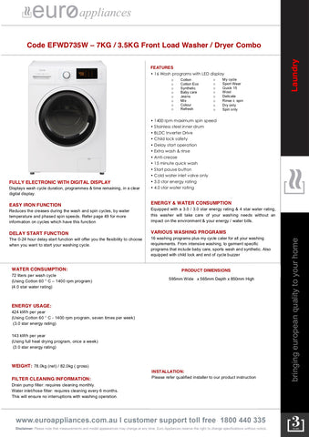 Euro Appliances EFWD735W 7KG / 3.5KG Front Load Washer / Dryer Combo