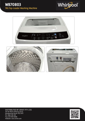 Whirlpool WB70803 7Kg Top Loader Washing Machine