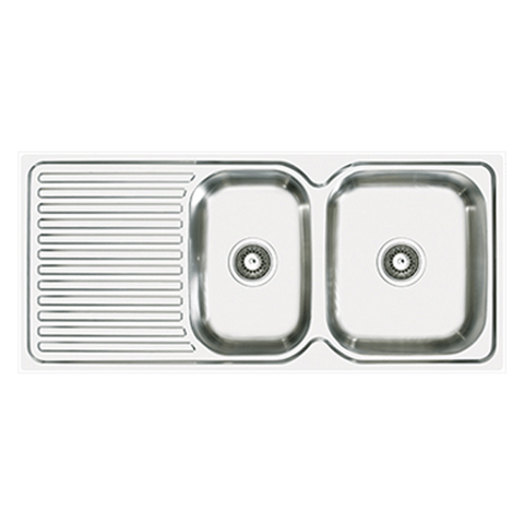 Abey EN180R Entry Right Hand 1 & 1/2 Bowl Stainless Steel Sink