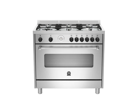 Bertazzoni AMS96C 71 B X Americana Series 90 6-Burners Gas Oven Electric Grill BX