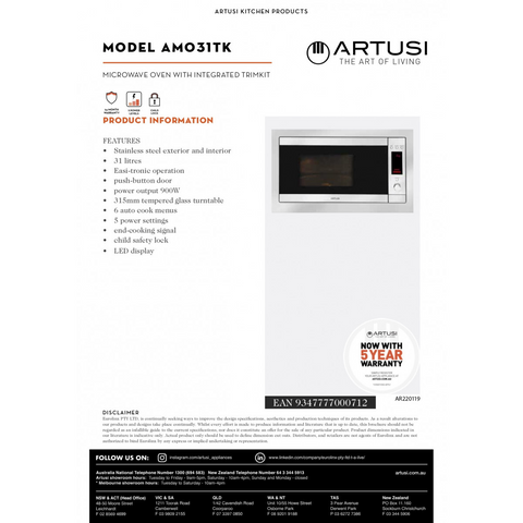 Artusi AMO31TK CLEARANCE Microwave Oven with Integrated Trimkit