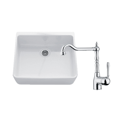 Chambord CLOTAIRE-1WT Clotaire 595mm Small Single Bowl Sink & Palais Chrome Kitchen Mixer
