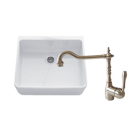 Chambord CLOTAIRE-1WTBN Clotaire 595mm Single Bowl Sink & Palais Brushed Nickel Kitchen Mixer