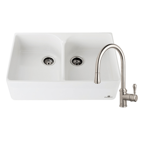 Chambord CLOTAIRE-2WTBN Clotaire 800mm Ceramic Double Bowl Sink & Palais Brushed Nickel Kitchen Mixer
