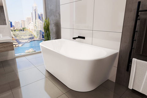 Decina AG1400W Alegra 1400mm Back to Wall White Freestanding Bath