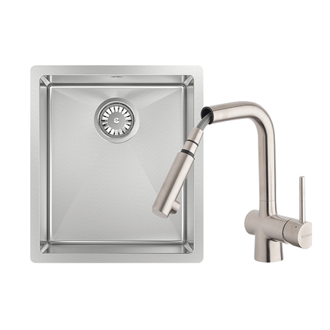 Abey FRA340T2 Alfresco 340mm Single Bowl Sink with Drain Tray & Laios Pull Out Kitchen Mixer