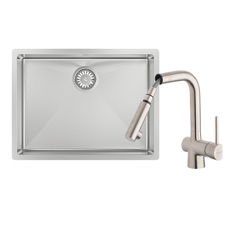 Abey FRA540T2 Alfresco 540mm Large Bowl Sink with Drain Tray & Laios Pull Out Kitchen Mixer