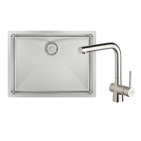 Abey FRA540T Alfresco 540mm Large Bowl Sink with Drain Tray & Laios Kitchen Mixer