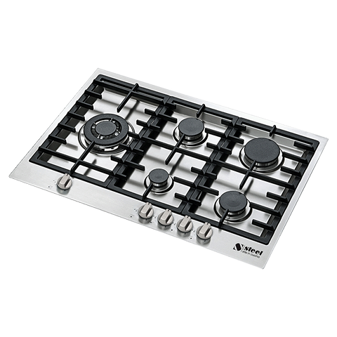 Steel GP7F-5 Genesi Range 75cm 5 Gas Burner Cooktop