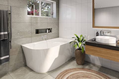 Decina NA1500RW Natalia 1500mm Back to Wall Right Corner White Freestanding Bath