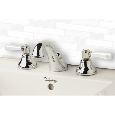 Nicolazzi 2608W Brenta 3 Taphole Basin Set with Swan Neck Spout & White Lever Handles