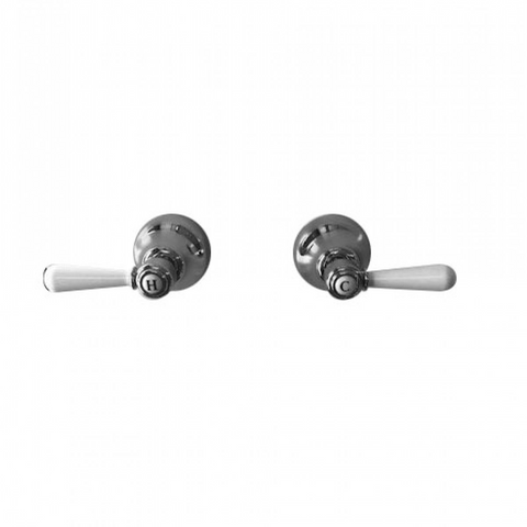 Nicolazzi Z26112W Brenta Wall Top Assembly with White Lever Handles Pair