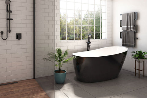 Decina PI1500B Piccolo 1500mm Black Freestanding Bath